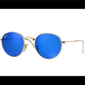 Blue/gold round unisex Ray Ban foldable sunglasses